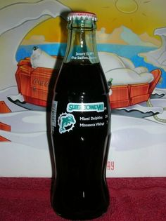 Coca Cola Super Bowl VIII Miami Dolphins & Minnesota Vikings Coke Bottle NICE! #MiamiDolphins #MinnesotaVikings #CocaCola