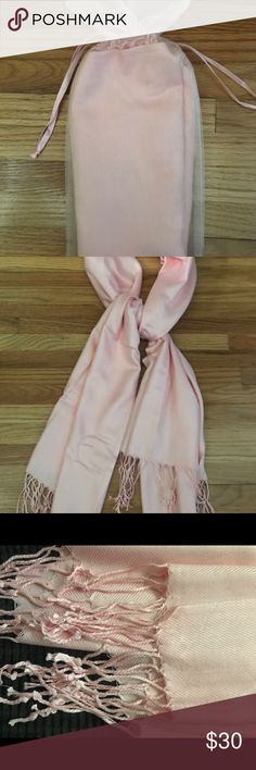 Blue Pink Light Weight Ladies Dress Scarf Pretty Sketch Floral Trees Design