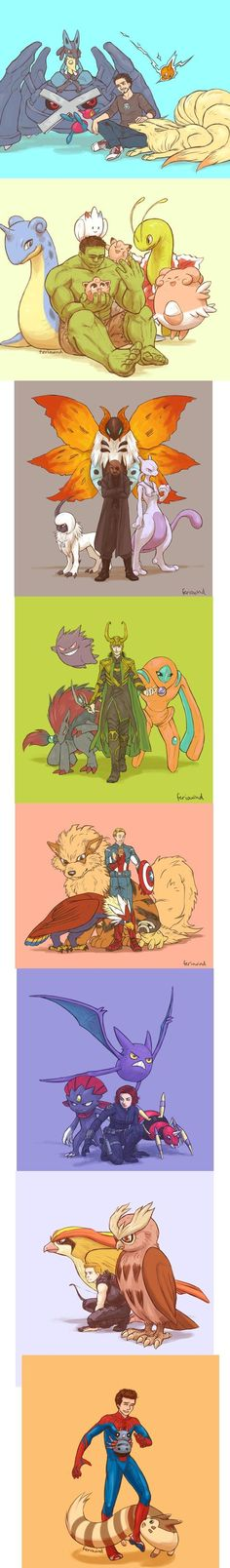 Avengers Pokemon crossover - One of the coolest mashups I've seen! Wonder why Stark has a Lucario...