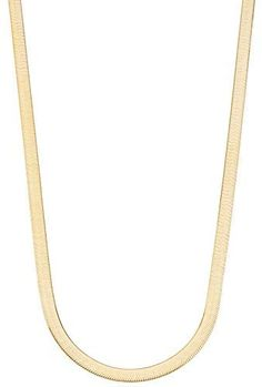 Miabella 18K Gold Over Sterling Silver Italian Solid 4.5mm Flexible Flat Herringbone Chain Necklace Men Women 16, 18, 20, 22, 24 Inch 925 Made in Italy