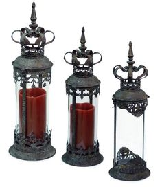 ... Renaissance Style Distressed Crown Top Cylinder Pillar Candle Lanterns