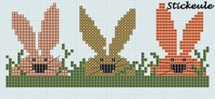 cross stitch - 3 bunnies in grass