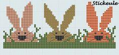cross stitch - 3 bunnies in grass