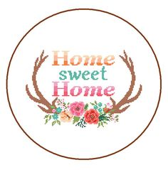 Modern Cross Stitch Pattern Home Sweet Home cross stitch Floral Antler theme Deer Antlers cross stitch Stag Antlers cross stitch pattern Cross Stitching, Cross Stitch Embroidery, Beading Patterns, Embroidery Patterns, Pattern Pictures, Modern Cross Stitch Patterns, Crafty, Things To Sell, Floral