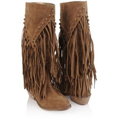 Suedette Fringe Boots ($35) found on Polyvore