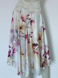 Magnolia Print full Circle Satin Tango Skirt US 4 and 6 EU