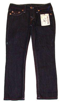True Religion Womens Jeans Denim Capris Americana Body Rinse Blue Sz 25 NEW $209 #TrueReligion #CapriCropped