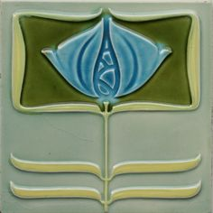 Circa 1905, back fully marked for Minton Hollins, Stoke on Trent. 15cm/6in square. An Art Nouveau relief tile reminiscent of Rennie Mackintosh designs, featuring a highly stylised floral motif in pale blue, olive-green, and yellow-green on an aqua grey-green ground.   eBay!