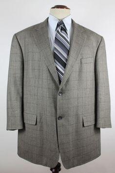Oscar De La Renta Blazer Sport Coat size 50R Wool Cashmere Plaid 2 Btn Ventless #OscardelaRenta #TwoButton