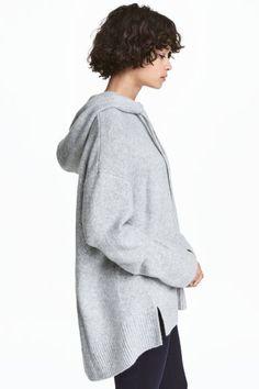 Knitted hooded jumper - Grey marl - Ladies | H&M CA 1