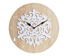 Reloj de pared en madera Birds