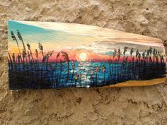 Tropical Sunset, Beach Painting, Sunset Painting, Painting on Wood, Rustic Painting, Wall Decor, Original Painting, Wood Sign, Modern Art