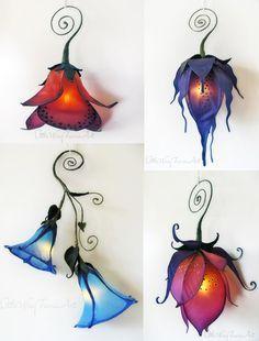 Silk butterfly and moth hanging lights. Little Wing Faerie Art 2014 http://littlewingfaerieart.com/