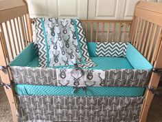 Arrow & Deer Crib Set/Turquoise and Grey by SewSweetBabyDesigns