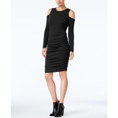 Bar Iii Cold-Shoulder Bodycon Dress, ($47) ❤ liked on Polyvore featuring dresses, deep black, ruching dress, cut-out shoulder dresses, gathered dress, body con dress and ruched dress