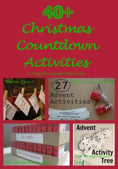Roundup post with 40+ Advent calendars and Christmas countdown activities of all kinds