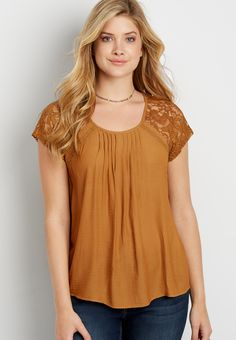 lightweight dolman blouse with lace sleeves