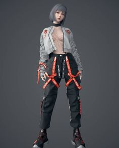Art by Ephebos Chu ephebosChu_arts Student Sci-Fi Girl's Tactical Wearing This is the first time i work through the complete workflow to… Moda Cyberpunk, Cyberpunk Girl, Cyberpunk Character, Cyberpunk Fashion, Cyberpunk Clothes, Female Character Design, Character Modeling, Character Design Inspiration, Character Art