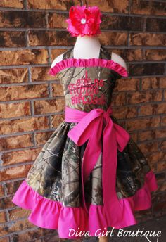 Girls Boutique Dress Birthday Dress Childrens Clothing Camo Pink