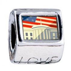 American Flag Whitehouse Photo Love Charms  Fit pandora,trollbeads,chamilia,biagi,soufeel and any customized bracelet/necklaces. #Jewelry #Fashion #Silver# handcraft #DIY #Accessory