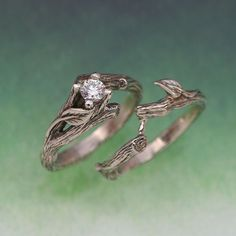 ACADIA WEDDING RING Set - Engagement Ring, Matching Weddng Band, 14k white gold with White Sapphire. $890.00, via Etsy.