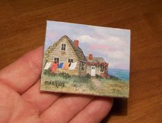 Miniature Cottage Painting  1:12 scale by MarquisMiniatures