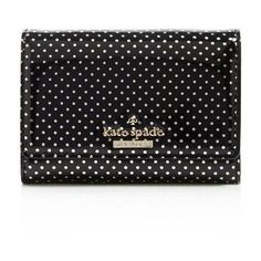 kate spade new york Lilac Street Dot Darla Card Case ($98) ❤ liked on Polyvore featuring bags, wallets, black, kate spade bags, black patent leather bag, polka dot bag, patent leather wallet and black polka dot bag