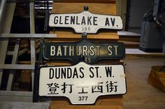 Torontos Gorgeous Old Street Signs Might Soon Be for Sale - Mark Byrnes - The Atlantic Cities Preston Market, Toronto Street, Physical Geography, Old Street, Black And White Design, Atlantic City, Toronto Canada, Street Signs, Urban Landscape