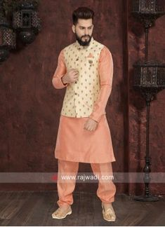 Attractive Peach Color Nehru Jacket