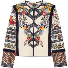 Tory Burch Amber embroidered printed canvas jacket featuring polyvore, women's fashion, clothing, outerwear, jackets, blusas, embroidery jackets, pink jacket, floral embroidered jacket, fringe jacket and tory burch jacket