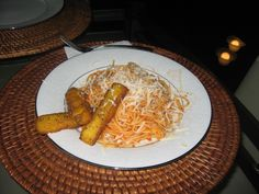 Pasta with homemade Polenta Fries