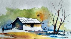 Watercolor Painting For Beginners - Village House Landscape Tutorial Watercolor Paintings For Beginners, Watercolor Landscape Paintings, Gouache Painting, Watercolor Techniques, Monet Paintings, Abstract Paintings, Painting Art, Watercolor Barns, Watercolor Art Diy