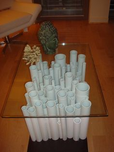 LOVE this table..minus the head! PVC pipes attached together with PVC cement