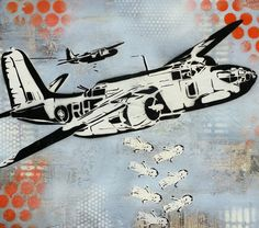 Kewpie Doll Drop WW2 Bomber Pop Art Painting on Canvas Graffiti Pop Art Style by thefactory101, $150.00