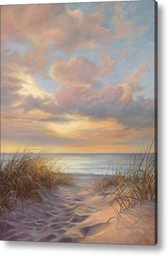 Beach Painting - A Moment Of Tranquility by Lucie Bilodeau - Coastal Ocean Art Landscape Art, Landscape Paintings, Scenery Paintings, Landscape Lighting, Seascape Paintings, Beach Paintings, Beach Sunset Painting, Acrilic Paintings, Beach Artwork
