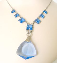 Vintage Blue Crystal Drop Necklace Silver and by nanascottagehouse, $110.00