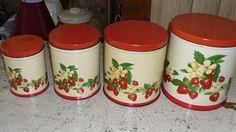 Vintage Tin Strawberries Canister Set. $32.00, via Etsy.