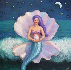"Original Oil on Canvas ""Mermaid's Pearl"" by Sue Halstenberg. Seated in a protective shell, a mermaid meditates holding her precious pearl of wisdom as she calmly rides atop the ocean's unsettled waves of emotion."