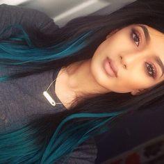Get Crazy Creative with these 50 Peekaboo Highlights Ideas Green Hair, Purple Hair, Ombre Hair, Dark Teal Hair, Teal Ombre, Dark Hair With Highlights, Blue Peekaboo Highlights, Green Highlights, Trending Hairstyles