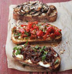 YUMMY (top to bottom) mushrooms w/ parmesan, tomato basil and gsrlic, or sauteed balsamic onions w/ mozzarella