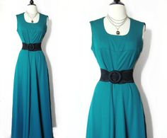 Vintage 70s Forest Green Maxi. $30.00, via Etsy.