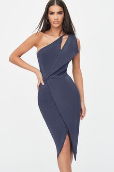 Womens Lavish Alice One Shoulder Cut Out Midi Wrap Dress - Green Classy Dress, Classy Outfits, Chic Outfits, Dress Outfits, Fashion Dresses, Dress Up, Dress Night, Tomboy Outfits, Dress Boots