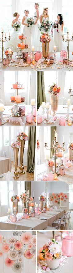 Vom Barock inspirierte Dekoration sorgt für ein königliches Hochzeitsessen a la Marie Antoinette. Die Trendfarben Kupfer und rosa sind perfekt für royale Prinzessinnenhochzeiten! I © Andreas Nusch Hochzeitsfotografie