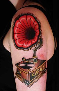 Gramophone Tattoo Idea - Tattoo Shortlist  such a cool tattoo! great for music lovers.