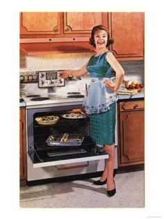 Gibson, Cooking Ovens Housewife Housewives Kitchens Appliances Woman Women in Kitchens, USA, 1950