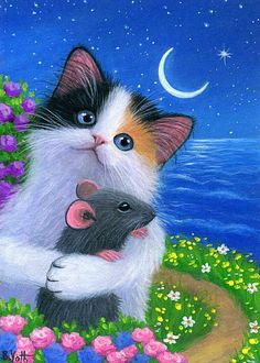 Kitten cat mouse spring stars moon night ocean original aceo painting art #Realism Good Night Cat, Kittens Cutest Baby, Cute Cats, Cats And Kittens, Most Beautiful Animals, Beautiful Cats, Cat Art, Sweet Drawings, Cat Mouse