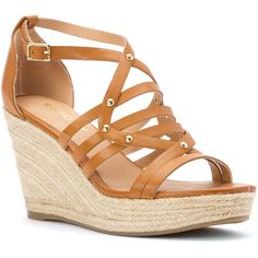 Report Women's Kellsie Espadrille Wedge Sandal Flats (65 CAD) ❤ liked on Polyvore featuring shoes, sandals, dark tan, open toe wedge sandals, tan wedge sandals, platform espadrilles, platform shoes and wedges shoes