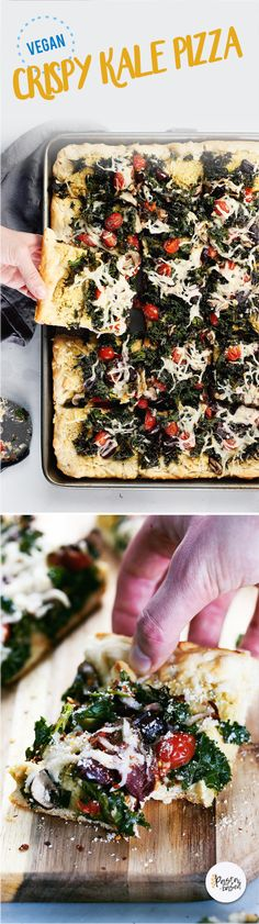 Vegan Grandma-Style Crispy Kale Pizza by Pasta-Based. Made with homemade cashew ricotta and fresh kale shreds. Then, topped with melty vegan mozzarella cheese shreds and grape tomatoes. #vegan #veganpizza #pizza