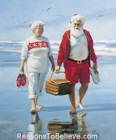 Mr. and Mrs. Claus vacationing before The Christmas Season begins. (They live here in NJ. Mr. Claus belongs to our Y and watches the kids swim classes from the hot tub to see if they are naughty or nice!)