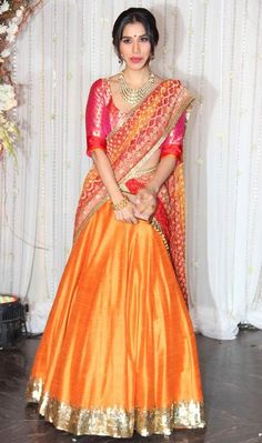 Orange and red Lehenga in raw silk with sequence work Indian Bridal Wear, Indian Wedding Outfits, Indian Ethnic Wear, Indian Outfits, Asian Bridal, Indian Clothes, Bridal Outfits, Western Outfits, Bridal Dresses